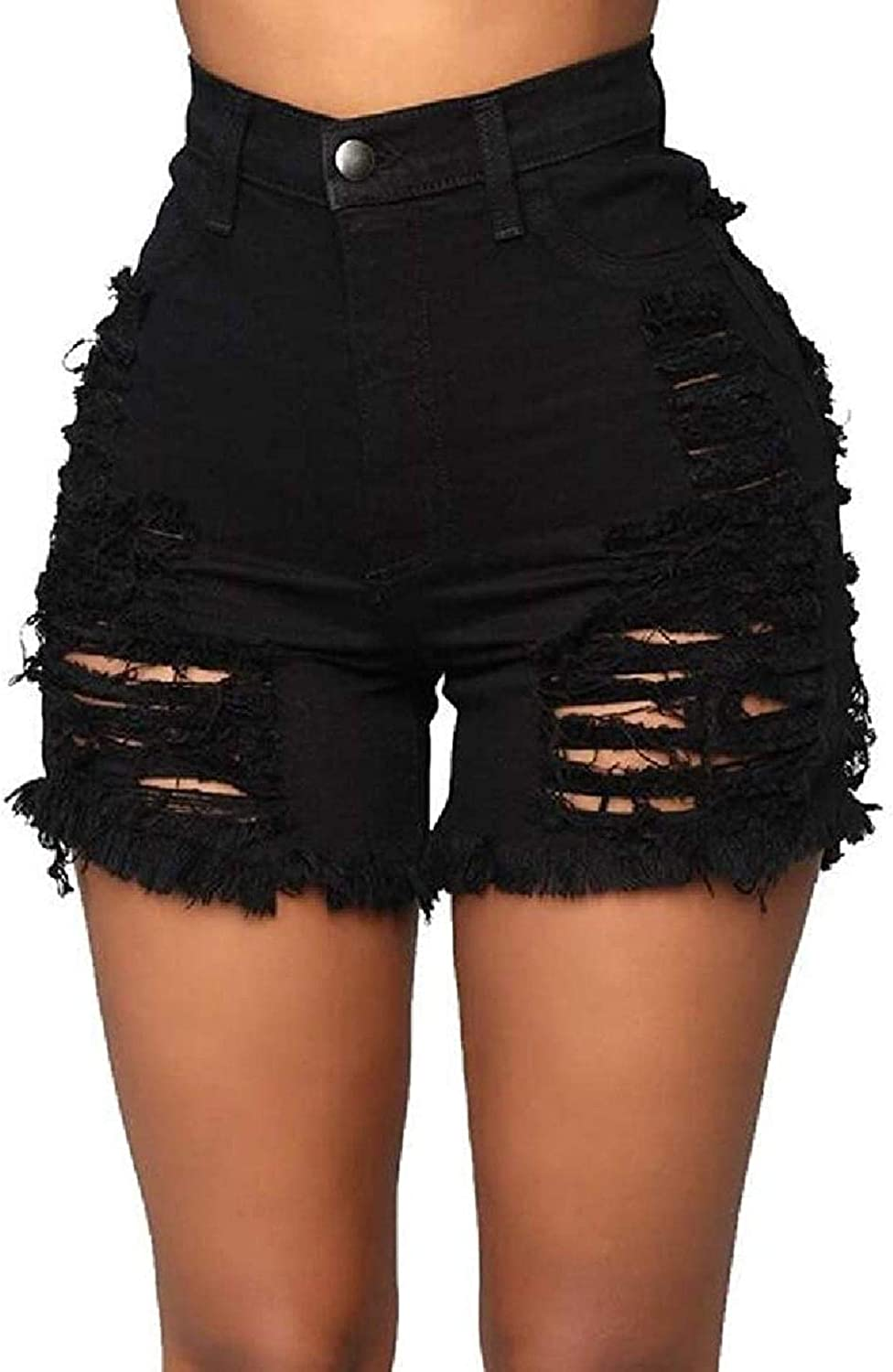 Women's Sexy Ripped Distressed Hollow Out Cut Off Cut-Out Solid Color Denim Shorts Jeans Hot Pants