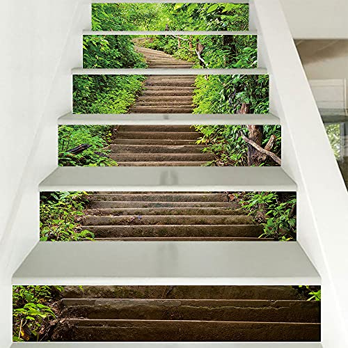 Selbstklebend | Treppen | Teppiche | Treppen | Fliesen | Stufen | Rutschfest | Kopftür Tapete | Vinyl | Treppenteppiche | 3D | Fliesenaufkleber | Innentreppen aus Holz100cm*18cm*6pcs-Waldweg
