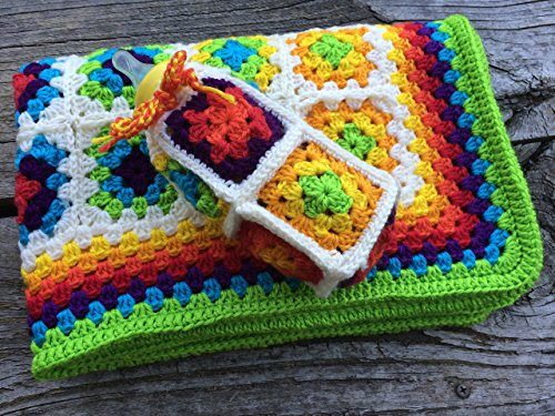 Baby Blanket. Rainbow Unisex Baby Blanket. Crocheted Blanket. Baby Afghan with Bonus Bottle Cosy. Celebrate Australia's YES to Same Sex Marriage. Free Shipping
