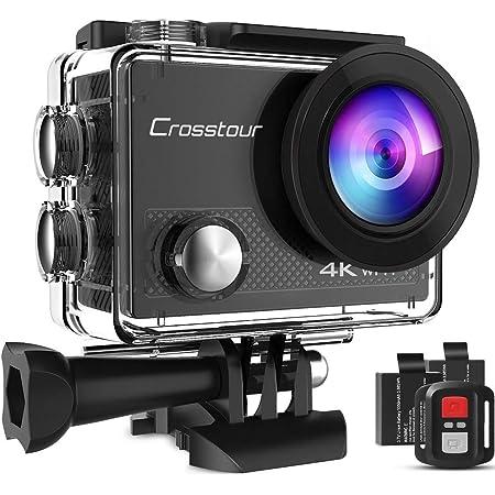 Crosstour Action Cam CT9000,WiFi Telecomando Impermeabile 40M Digitale Fotocamera Subacquea,Stabilizzazione Videocamera ,19 accessori Grandangolo 170 °
