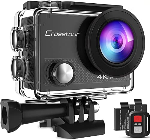 Crosstour Action Cam 4K WiFi 20MP Action Camera LDC Subacquea 30M con Custodia Impermeabile IP68 e Telecomando