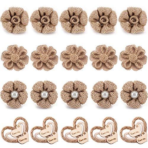 LONGBLE jute bloemen doe-het-zelf jute rozen handgemaakte 20 stuks Burlap natuur rustieke lijm handwerk maken bruiloft decoraties Hessische kerstfeest decoratie knutselen 4 patronen jute bloemen