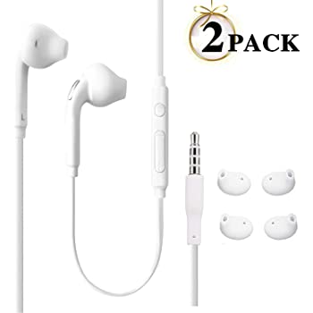JUNAHAA 3.5mm Earphones/Earbuds/Headphones Stereo Mic&Remote Control Compatible All Samsung Galaxy S6 Edge+/ S6/ Note 8/Note 9/ S8/S8+ S9/S9+ Compatible iPhone 6/6plus/6S/6S Plus/5S/5c [2Pack]