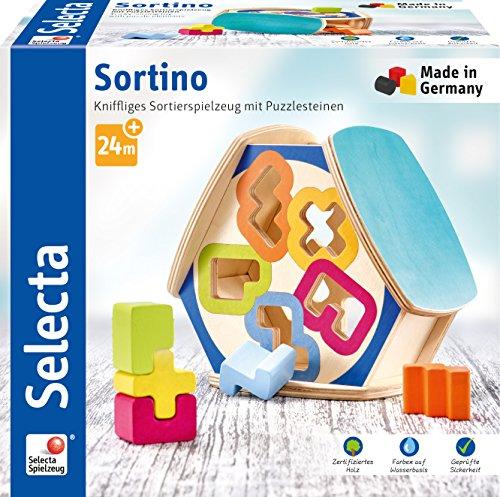 Selecta 62066 Trino Boîte de Rangement en Bois Multicolore