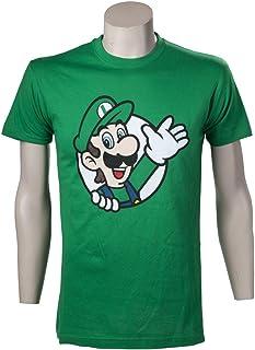 Nintendo - T-Shirt di Super Mario con stampa di Luigi, Uomo, M, Verde