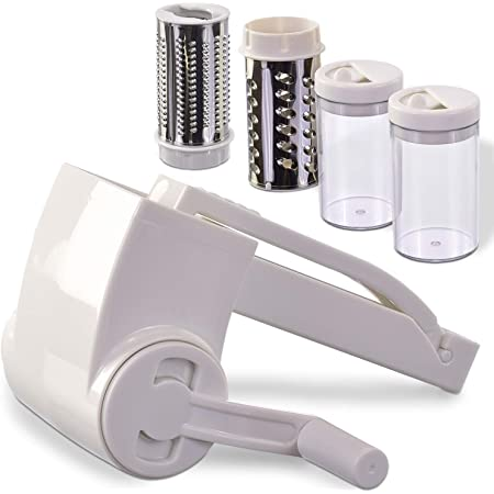 Vivaant Professional-Grade Rotary Grater - 2 Stainless Steel Drums - Grate Or Shred Hard Cheeses, Chocolate, Nuts, and More! - Award-Winning Design And Sturdy Build Quality Lasts A Lifetime!
