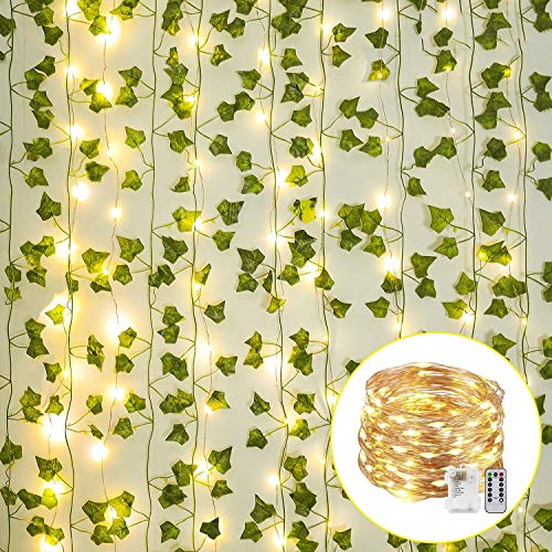 JUSTDOLIFE KüNstliches Rebe KüNstliche Anlage 12PCS Mit Partei Licht 200 LED