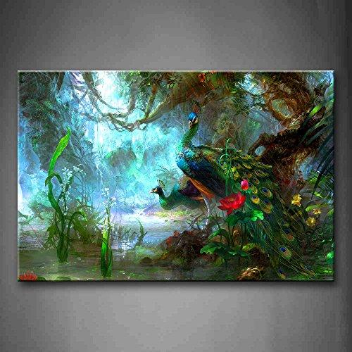 Pfau Zwei Pfauen Gehen Im Wald Schön Wandkunst Malerei Das Bild Druck Auf Leinwand Tier Kunstwerk Bilder Für Zuhause Büro Moderne Dekoration