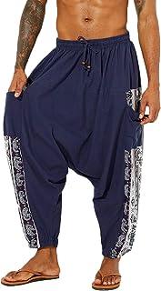 Men's Cotton Linen Ethnic Print Harem Pants Casual Baggy Boho Aladdin Hippie Yoga Pants with Pockets