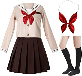 Japanese School Girls Sailor JK Uniform Brown Pleated Skirt Anime Cosplay Costumes with Socks Set(SSF28)