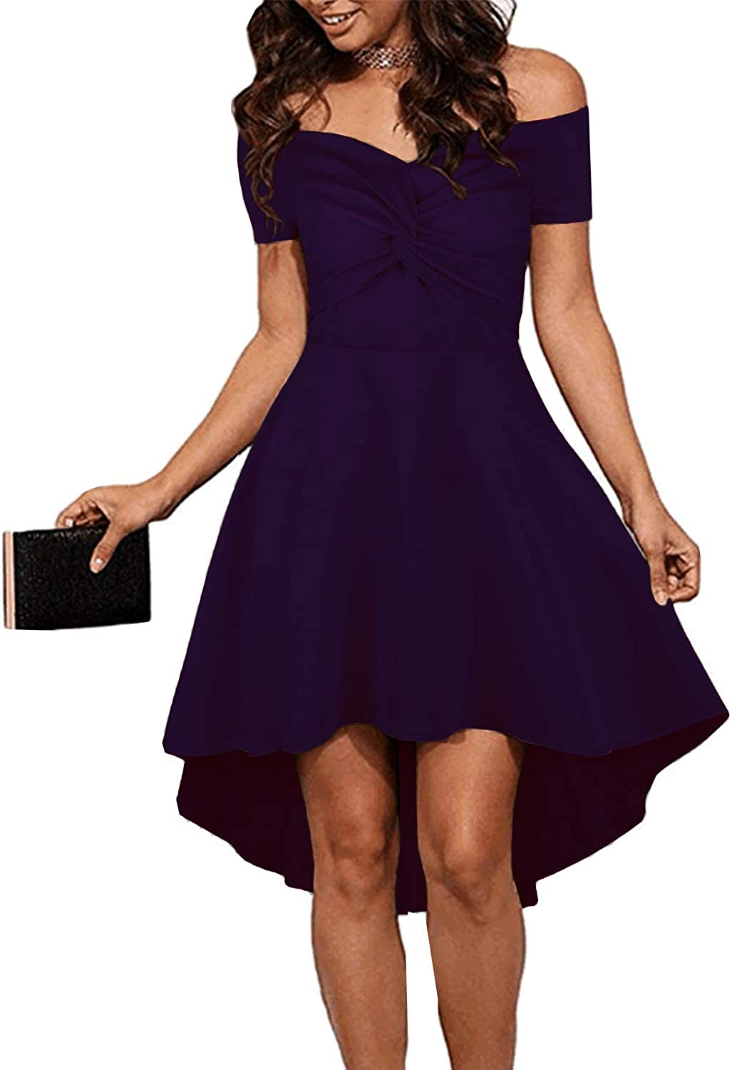 Ulrico1 Women's Off The Shoulder Short Sleeve Twist Knot Front High Low Cocktail Party Skater Dress