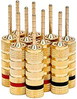 Monoprice 109438 Gold Plated Speaker Pin Plugs - 5 Pairs - Pin Screw Type, for Speaker Wire, Home Theater, Wall Plates and...