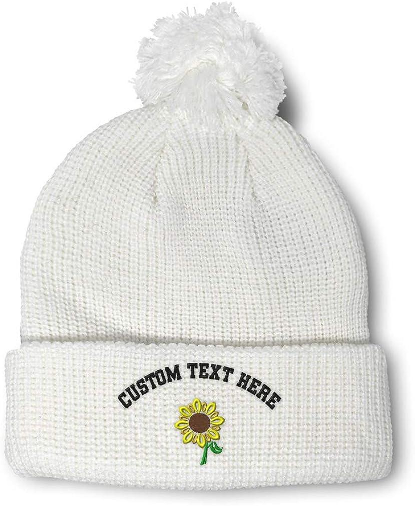 Speedy Pros Pom Pom Beanies for Women Plants Sunflower Embroidery Acrylic Skull Cap 1 Size