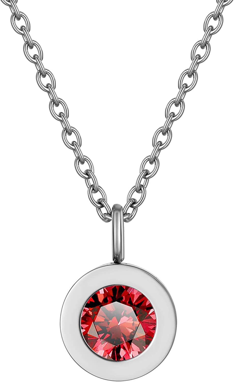 GOLDCHIC JEWELRY 12 Months Birthstone Necklace for Women, Stainless Steel 6mm Round CZ Solitaire Sparkly Bezel Pendant Necklace with 18