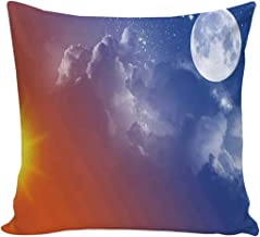 YOLIYANA Apartment Decor Comfortable Print Pillow Cover,Full Moon Sun Clouds Cycle of The Galaxy Sacred Movement Macrocosm Print for Car,16''L x 16''W