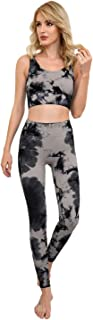 DREAMSLIM-Women's Workout Outfit 2 Pieces-Ribbed Tie Dye Seamless Yoga Outfits Sports Bra and Mid-High Waist Leggings Set