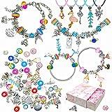 Kit de fabricación de pulseras, VARACL 82 piezas DIY Charms Pulsera Kit de fabricación de joyas para niñas, suministros de joyería, abalorios, pulseras, cadena, collares y regalos para adolescentes