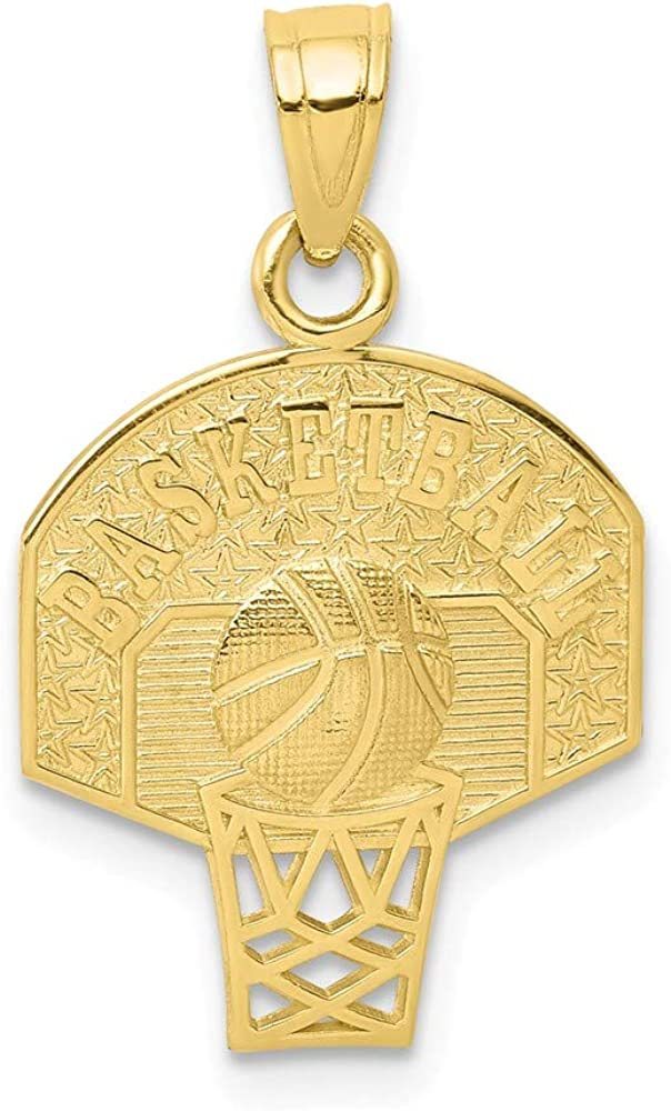 Solid 10k Yellow Gold Basketball Charm Pendant - 23mm x 16mm