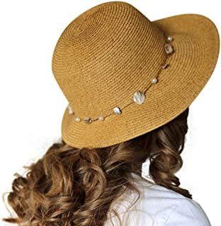 sungrubbies Oceana Womens Straw Sun Hat X-Large UPF 50 Beach Summer Hat with Mother of Pearl Accent Fashion Headwear