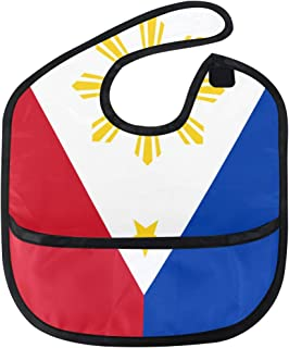 Philippine Flag Proud Baby Bibs Waterproof,Washable,Baby Teething Bib 6-24 Months