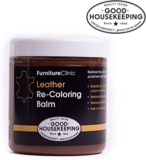 Furniture Clinic Leather Balm – Renew, Restore & Repair Color to Faded and Scratched Leather | 21 Color Choices, Works on Couches, Car Seats, Clothing & Purses - 8.5 Fl. Oz (Tan)