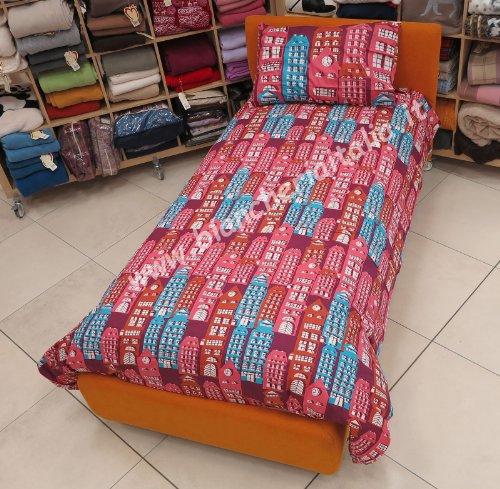 Bassetti Brio - Juego de Funda nórdica Sweet Home para Cama Individual, 100% algodón, 155 x 200 + 1 sábana Bajera con Esquinas 90 x 200 + 1 Funda de Almohada 50 x 80 cm, Color Turquesa
