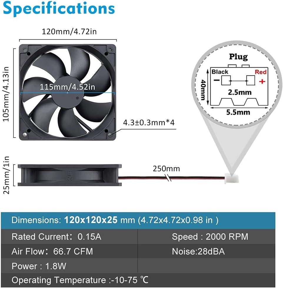 Wathai 120mm x 25mm Brushless DC Cooler Case Cooling Fan 12V 2Pin