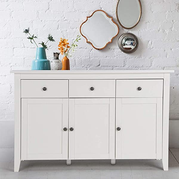 Be Ihouse Sideboard Storage Cabinet Rustic Jewelry And Makeup Organizer Countertop Storage Apothecary Cabinet Craft Organizer Handmade Wooden Cabinet With 3 Storage Drawers 3 Doors White