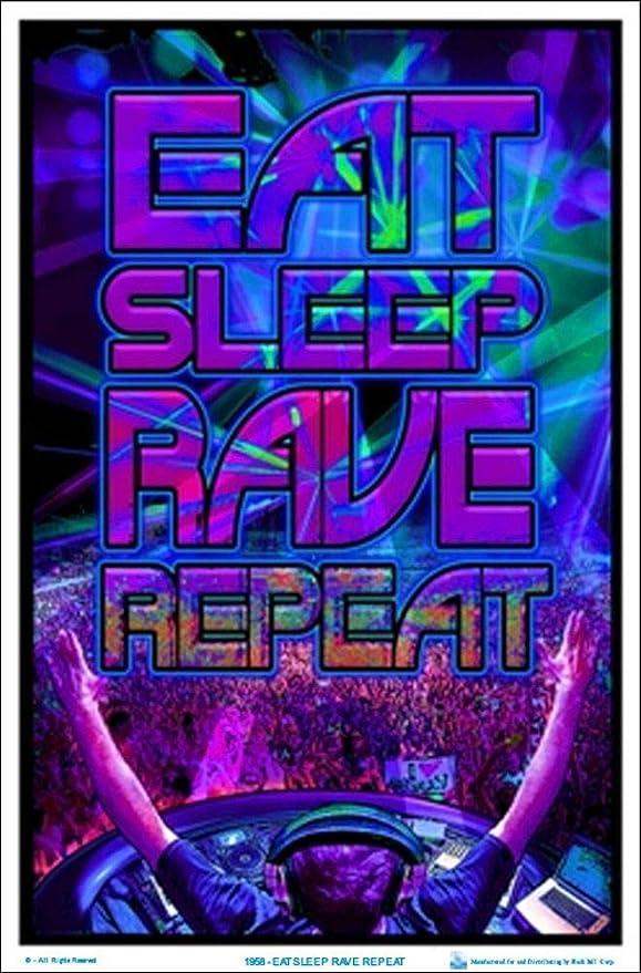 "23.5/"" x 35.5/"" Eat Sleep Rave Repeat Laminated Blacklight Poster"