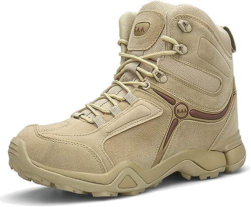 MAKAFJ Militaire Desert Desert Combat Bottes pour Hommes Armée Tactique Bottes De Patrouille étanche à Lacets Sécurité Trainers paniers Chaussures Utilitaires  bas prix