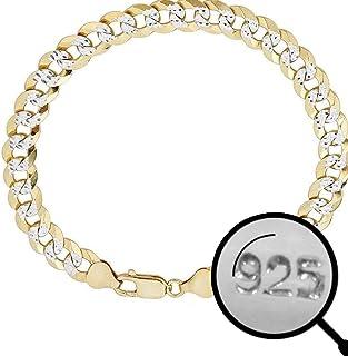 """HarlemBling Men's Cuban Link Bracelet 14k Gold Over Solid 925 Sterling Silver Bracelet - 8.5"""" 8mm - Two Tone Diamond Cut Pave"""