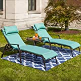 Festival Depot 3 Pieces Outdoor Patio Chaise Lounge Adjustable Back Chairs Set of 2 Chairs and 1 Bistro Table for Lawn Garden Balcony Pool Backyard with Removable Detachable Cushions