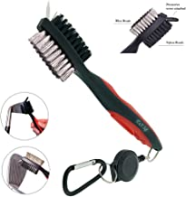 K&V GOLF Golf Club Brush and Groove Cleaner Dual Sided Nylon & Steel Brush With Spike for Cleaning Club Face & Groove - With Loop Clip (Carabiner) For Easy Hanging on Golf Bag - Ergonomic Design