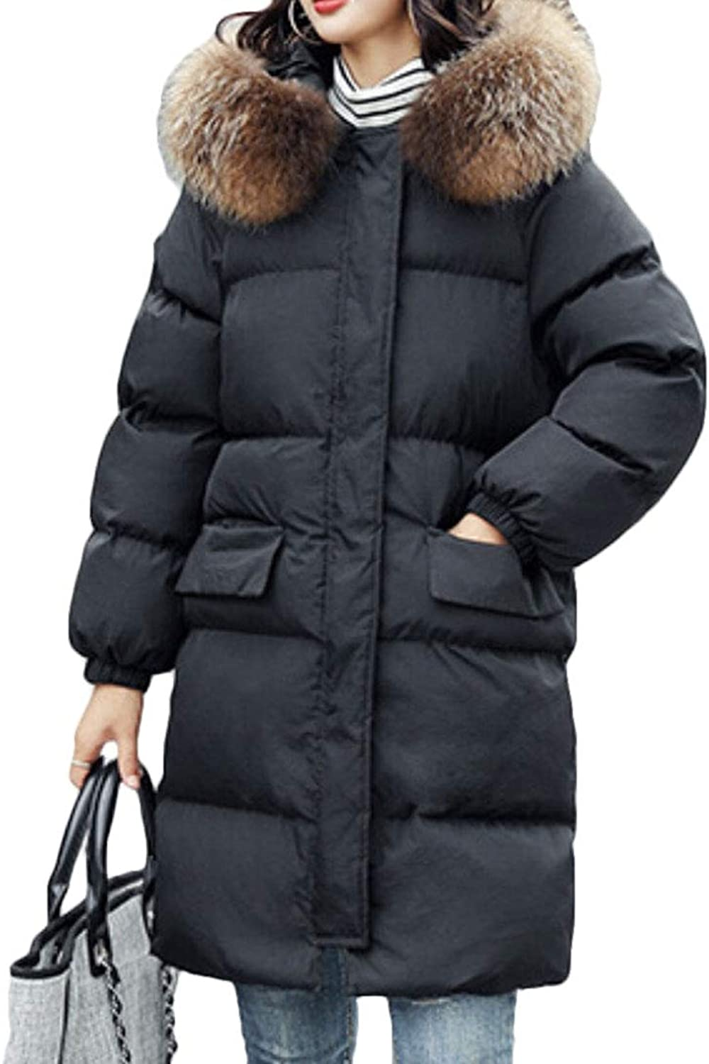 Qiangjinjiu Women Winter Warm Long Parkas Coat Jackets with Faux Fur Hood