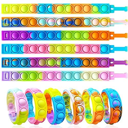 ZNNCO 12 x Fidget-Armband, langlebig und verstellbar, mehrfarbig, Stressabbau, Fingerdruck-Armband für Kinder und Erwachsene, ADHS, ADD, Autismus (Option 1)