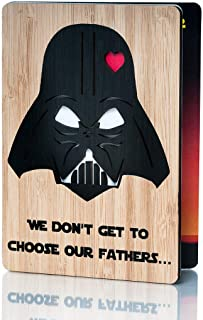 Wooden Fathers Day Card; Perfect Happy Fathers Day Gift for Husband, Dad, Son, Grandpa or Uncle; Funny Laser Cut Star wars Design; Ideal Happy Birthday Dad Card; True Keepsake Birthday Cards for men