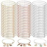 60Pcs Expandable Bangle Bracelets Adjustable Wire Blank Bangles Metal Bracelets for DIY Craft Jewelry Making, 3colors