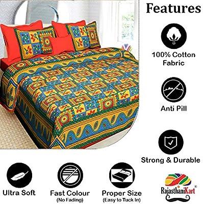 Rajasthanikart 100% Cotton Jaipuri Traditional Bedsheet - Kantha Print (Double, Orange)