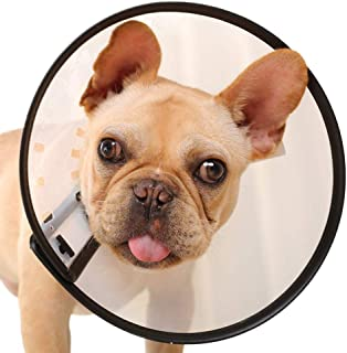 Dora Bridal Recovery Pet Dog Cone Adjustable Lightweight Protective E-Collar, Anti-Bite/Lick Wound Healing Safety Practical Breathable Neck Cover, No Vision Block, Plastic Soft Cones for Dogs Cats
