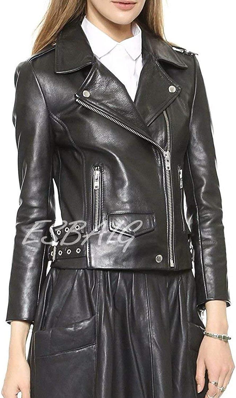 ESBAIG Womens Leather Jackets Stylish Motorcycle Bomber Biker Real Lambskin Leather Jacket for Women 537