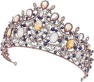 YNYA Tiare Corona Nuziale High-End Vintage Brown Water Drop Diamond Big Crown Wedding Jewelry Wedding Dress Wedding Stage ...