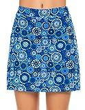 Ekouaer Skorts with Underneath Shorts Women's 2 Layer Skirts Print Active Travel Skirts