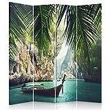 Feeby Frames. Die gedruckten auf Canvas Leinwand Wandschirme, dekorative Trennwand, Paravent einseitig, 4 teilig (145x150 cm), Tropen, BLAU, GRÜN