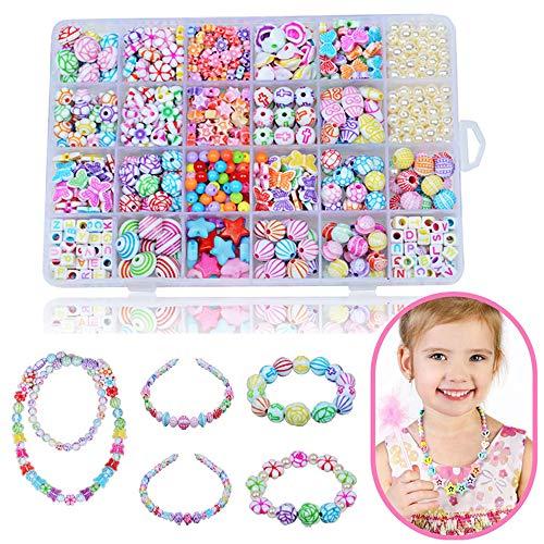 HEPAZ Perline per Braccialetti Bambini,24 Tipi Perline Fai da Te per Bambini,Bambini Perline Kit Braccialetti Fai da Te Bambina e Creazione di Gioielli,per Fai da Te Mini Perle di Braccialetti