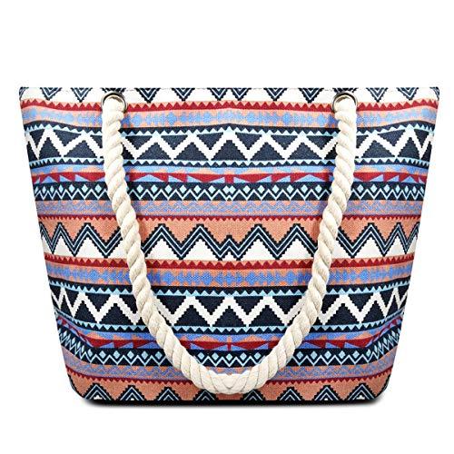 ZhengYue Große Strandtasche mit Reißverschluss Shopper Schultertasche Leinwand Sommer Schwimmbad Damen TascheVerschluss Badetasche Umhängetasche für Reise, Kaufen, Ausflug usw Blue
