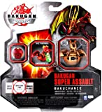 Spin Master Year 2010 Bakugan Gundalian Invaders Super Assault Series BakuChance Single Figure - Subterra Brown Dice Thrower CHANCE DRAGONOID with 1 Dice, 1 Ability Card and 1 Metal Gate Card Plus Hidden DNA Code