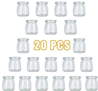 Timoo 20 Pack-7 oz Yogurt Jars, Clear Glass Pudding Jars with Lids, Yogurt Glass Jar Container with PE Cap for Yogurt, Pudding, Milk, Jam, Mousse and More