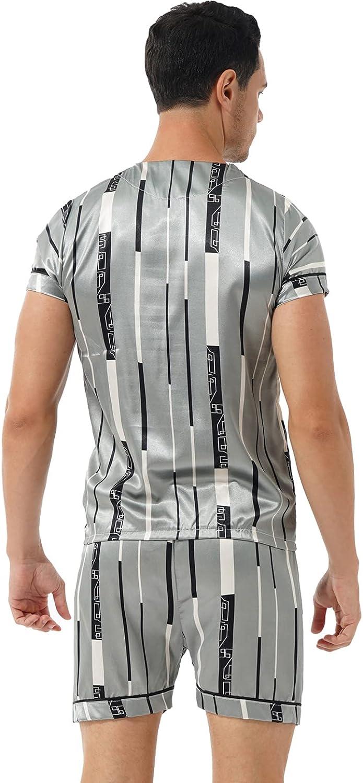 TSSOE Men's Silk Satin Pajama Set V-Neck Short Sleeve Shirt Shorts Pjs Lightweight Sleepwear Loungewear Sets