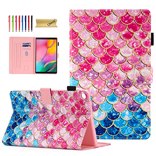 Cover for Samsung Galaxy Tab A 10.1 2019 SM-T510, Dteck Slim Fit Multi-Angle Folio Leather Stand Smart Shell Protective Case for Samsung Galaxy Tab A 10.1 Tablet 2019, Mermaid Wall