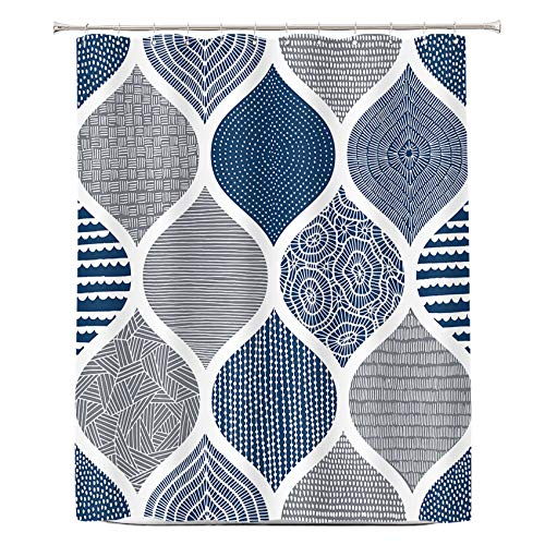 COLORPAPA Blue and Grey Shower Curtain Boho Shower Curtains for Bathroom Geometric Pattern Fabric Waterproof Bath Curtain Set with Hooks 72x72 Navy Blue
